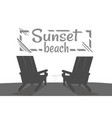 sunset on beach summer party black banner vector image vector image