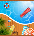 swimming pool top view palm treesmattress vector image vector image