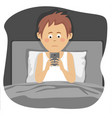 teenager boy uses smartphone sitting in bed vector image