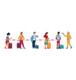 temperature check people in queue social distance vector image