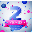 Two years anniversary celebration on grey vector image vector image