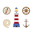 vecotr flat cartoon nautical marine symbols set vector image
