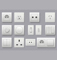 wall switch power electrical socket different vector image