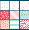 Winter holidays seamless patterns collection vector image