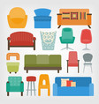 retro 70s furniture set armchairs chairs and vector image