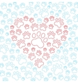 Heart with dog or cat paws background vector image