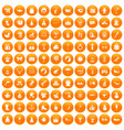 100 children icons set orange vector image vector image