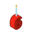 6 number and candles for birthday six figure for vector image vector image