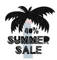 advert card with lettering 40 summer sale wit palm vector image vector image