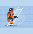 african american fireman climb ladder up in vector image vector image