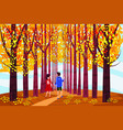autumn alley two guy and girl characters walking vector image