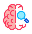 brain magnifier icon outline vector image