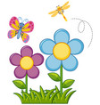 butterfly and dragonfly in flower garden vector image