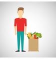 cartoon man red tshirt with shop bag healthy food vector image vector image