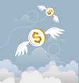 coin dollar with wings flying in the sky vector image vector image