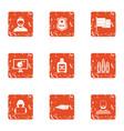 criminal enterprise icons set grunge style vector image vector image