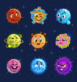 emoji planets cute colorful planets stickers vector image