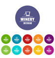 factory old winery icons set color vector image vector image