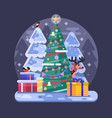 flat decorated christmas tree with holiday gifts vector image vector image
