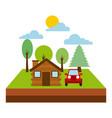 forest cottage house jeep natural landscape vector image