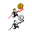 Happy Businessman Pursue Sales Target vector image