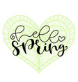 hello spring handwritting typography icon vector image vector image
