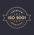 iso 9001 badge vector image