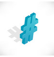 isometric icons hashtag vector image vector image