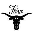 logo head of a bull farm lettering vector image