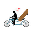 lover skateboarding skateboard and guy on bicycle vector image vector image