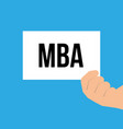 man showing paper mba text vector image vector image