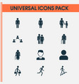 people icons set collection of female ladder vector image vector image
