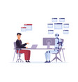 robot versus human at work multitasking vector image vector image
