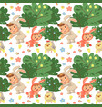 seamless pattern girl smile playing with chickens vector image vector image