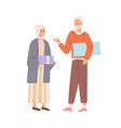 senior love couple exchanging holiday gifts aged vector image