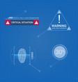 set digital sign in on blueprint background vector image