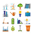 set energy and ecology flat icons vector image vector image
