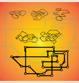 set of six mechanical schemes engineering vector image