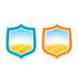 shield badges with farm field of wheat vector image vector image