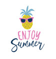 summer cartoon style pineapple in sunglasses label vector image vector image