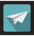 White paper plane icon flat style vector image vector image