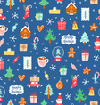 Winter holidays symbols repeat pattern vector image vector image