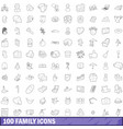 100 family icons set outline style vector image vector image