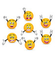 3d funny smileys faces with hands gesture set vector image vector image