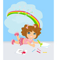 A girl drawing a rainbow thinking about her work vector image