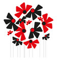 abstract red and black flowers on a white vector image