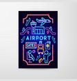 airport neon flyer vector image vector image