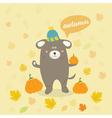 autumn scene with a cartoon dog vector image vector image