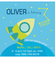 birthday invitation card - space and rocket theme vector image vector image