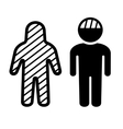 Broken Head and Body Icons Set vector image vector image